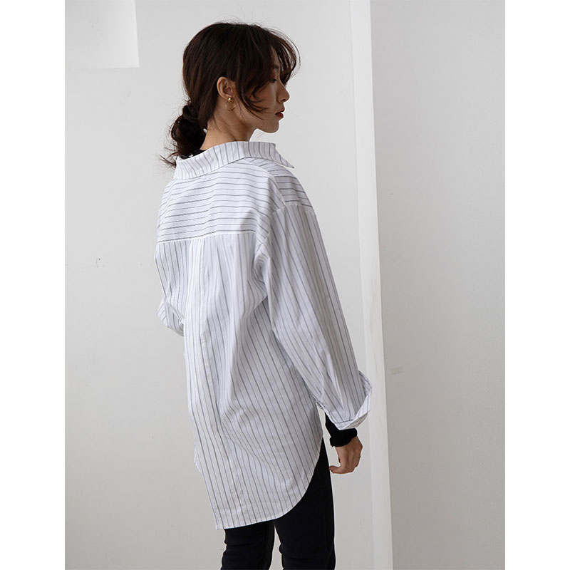 DIMANAF Plus Size Blouse Shirts Women Clothing Casual Striped Office Lady Basic Tops Tunic Loose Long Sleeve Button Cotton Shirt