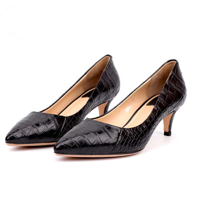 yinshang new crocodile leather new High heels women shoes pointed office women single shoes crocodile Leather shos women