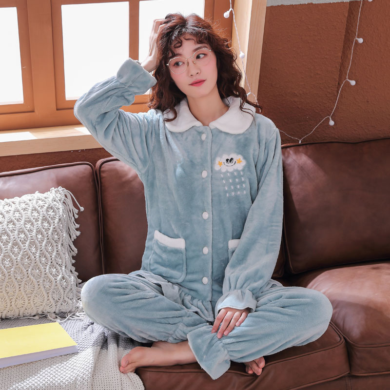 Plus Size 3XL 4XL 5XL Pajamas for women 2019 Winter Thicken Flannel pyjamas Long-sleeve lovely Sleepwear Coral Fleece Nightgowns 144