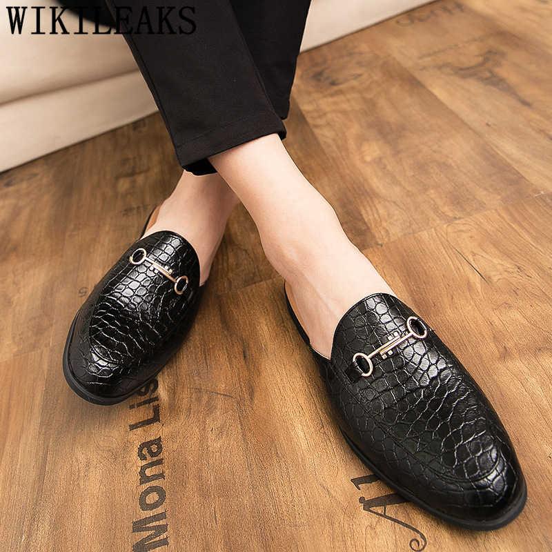 Mues meia sapatos para homens sapatos de couro preto sapatos de luxo masculino moda zapatillas hombre casual sepatu deslizamento em pria ayakkabı