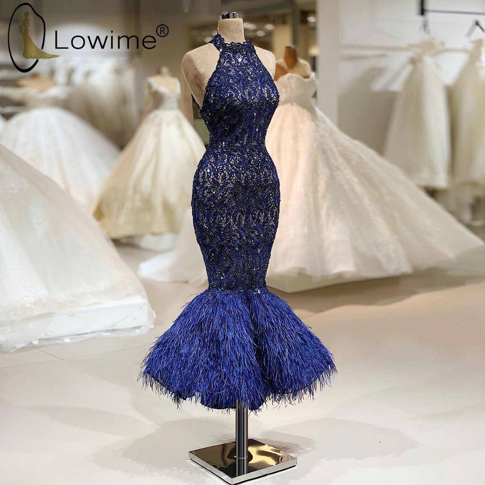 2020 Navy Blue Mermaid Tea Length Evening Dresses Crew Neck Feathers Bead Robe De Soiree Prom Party Dresses