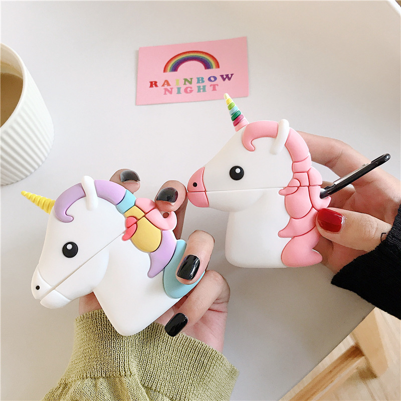 Bluetooth Earphone Case For Airpods Cute Silicone Protective Cover For Airpods 2 Accessories With Keychain Stereoscopic Unicorn