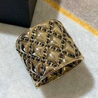 Brand Gold Color Fashion Jewelry For Women Big Width Cuff Bracelet Fashion Praty Jewelry Crush Black Cuff Bangle Black Beads