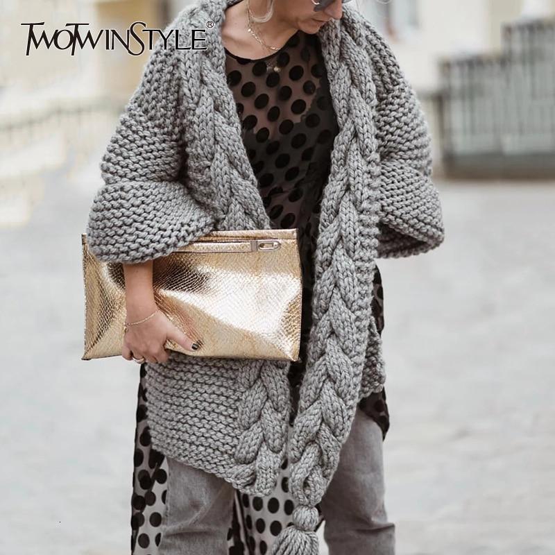 TWOTWINSTYLE White Knitted Korean Tassel Sweater For Women V Neck Lantern Long Sleeve Loose Cardigans Female 2020 Autumn Fashion