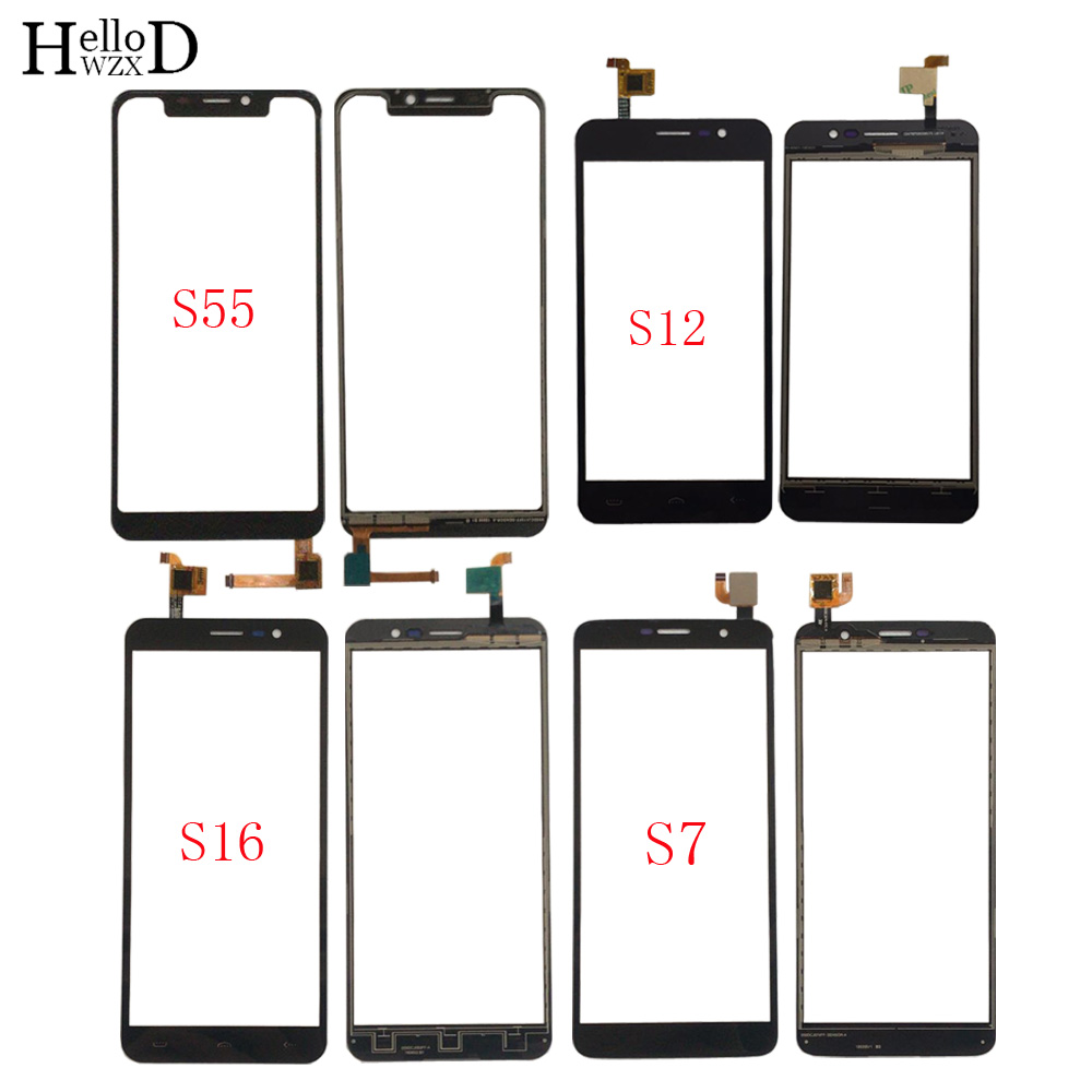 Mobile Touch Screen Panel For Homtom S7 S12 S16 S55 Digitizer Panel Front Glass Touch Screen TouchScreen Sensor 3M Glue Wipes