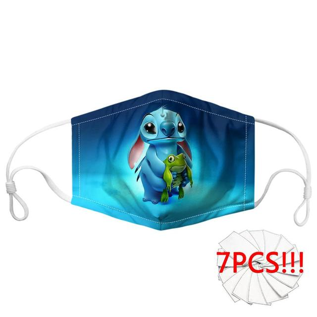Customized Cartoon Anime Lilo Stitch Print Mask Mouth Breathbale Reusable Filter Face Mouth Mask for Women/Men Mask