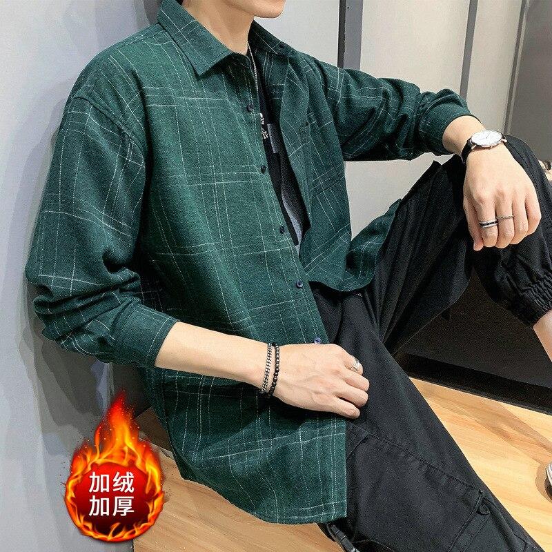 Мужская рубашка, весна и осень 2019, новая мода, клетчатая Свободная рубашка плюс бархат, толстая Мужская теплая рубашка, одежда
