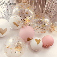 Gold Heart Printed Balloons White Black Pink Wedding Balloons Confetti Ballons Baby Shower Birthday Party Kids Party Decor