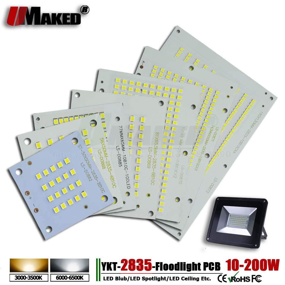 1pcs SMD 2835 LED Flood Light PCB Plate 10-200W Light Source Heatsink LED Aluminum PCB  Panel Borad For Outdoor Lights Lamps DIY