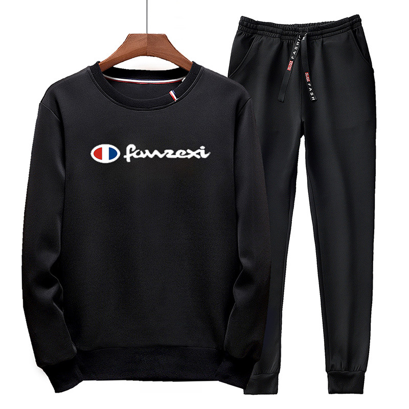 2019 Winter Men New Style Casual Wear Set Young MEN'S Korean-style Slim Fit Round Neck Sweater Sweatpants Sports Set