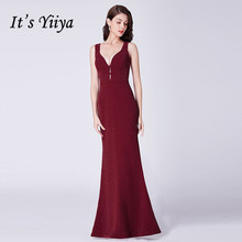 Its Yiiya Bridesmaid Dress Elegant Mermaid Women Party for Girls Sequin V-neck Plus Size Robe Demoiselle D Honneur 2019 C511