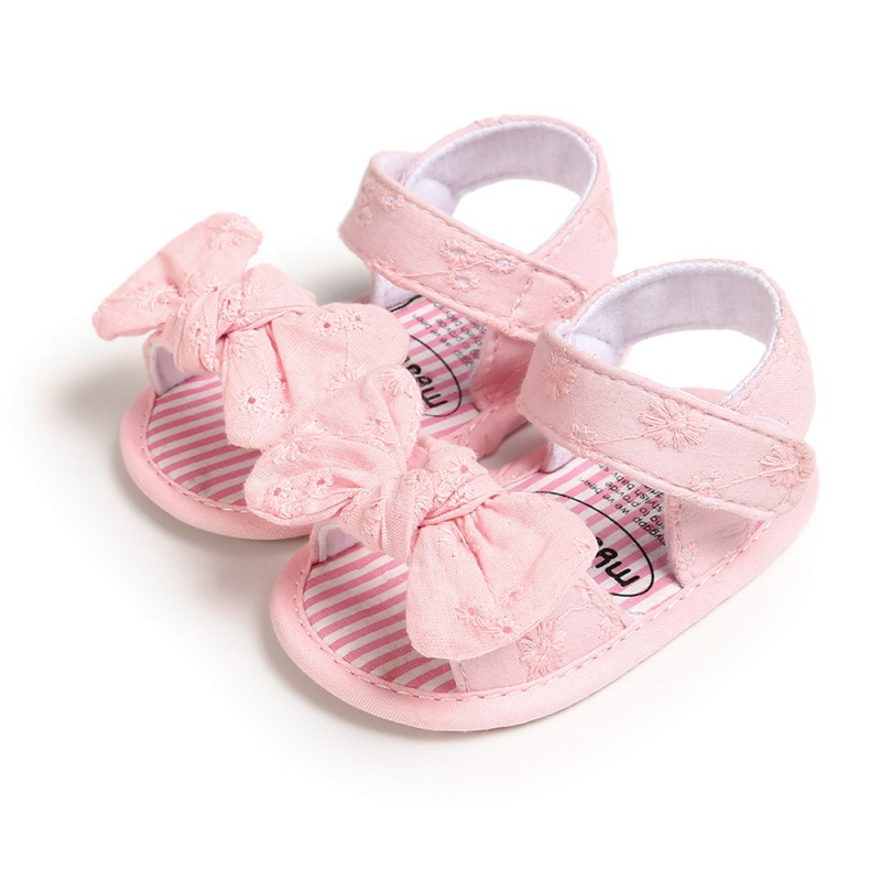Summer Baby Girls Shoes Breathable Anti-Slip Bow Toddler Soft Soled First Walkers Shoes 0-18M
