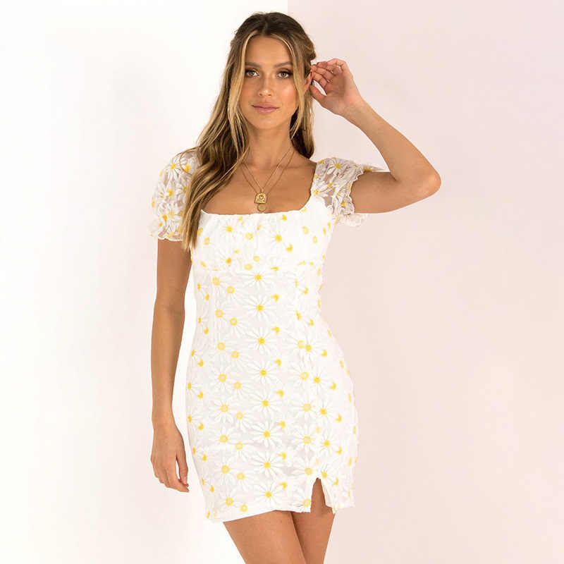 Kryptographische 2020 Sommer Quadrat Kragen Floral Kleid Sommer Mode Outfits Split Kleid Backless Kurzarm Sommerkleid Vestidos