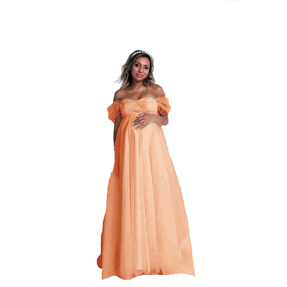 Shoulderless Sexy Maternity Dress Photo Shoot Long Pregnancy Dresses Photography Props Lace Chiffon Maxi Gown For Pregnant Women (7)