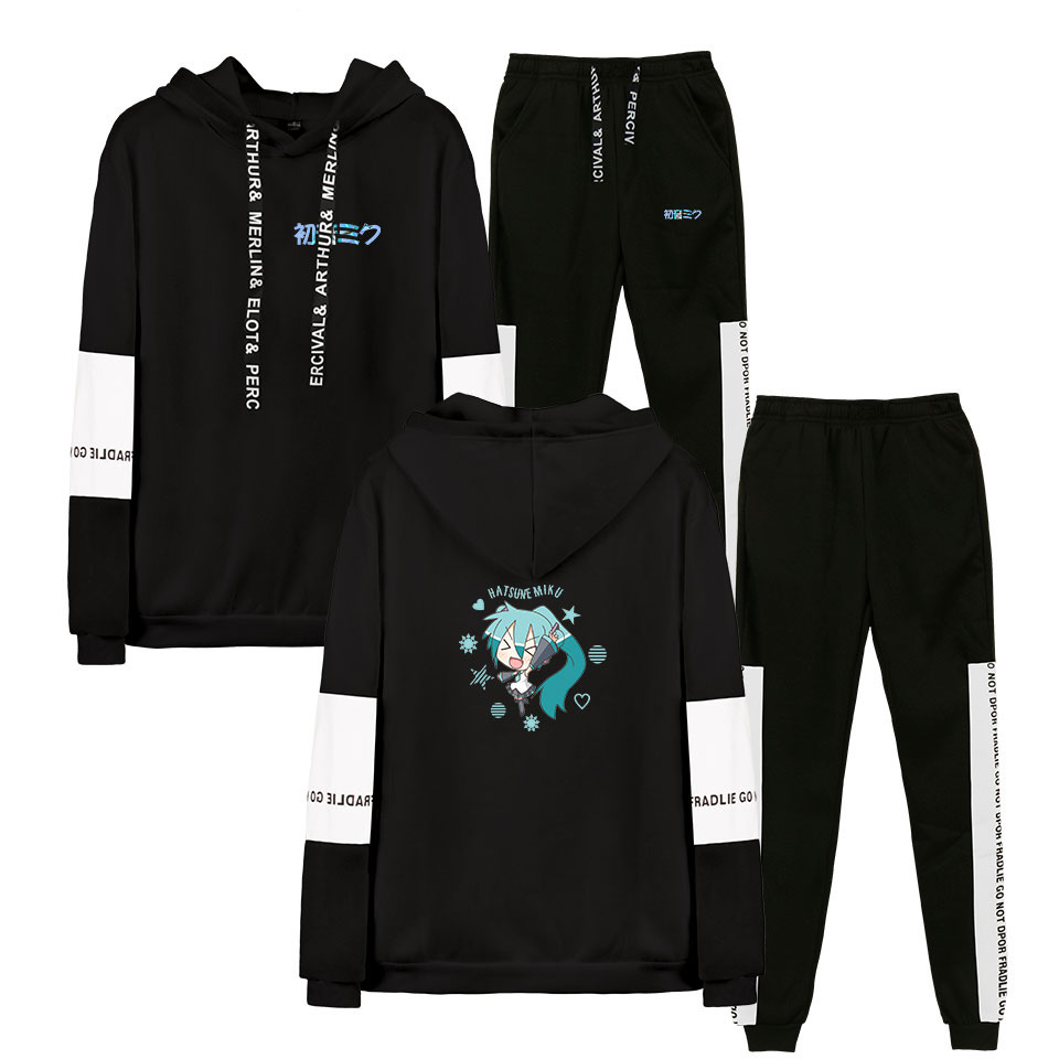 2019 Autumn/Winter Hatsune Miku  Hoodies Sweatshirts And Sweatpants Women Hatsune Miku  Two Piece Set Hooded Suit Velvet
