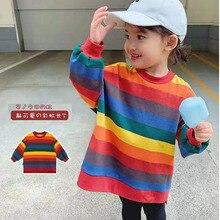 2-7T Kids Girls Rainbow Striped Fleece Dress Autumn Winter 2019 Children Warm Long Sleeve Dresses Casual Thick T Shirt