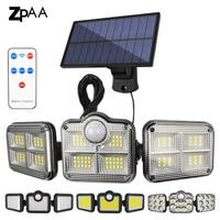 Solar-LED-Licht Außen Motion Sensor Solar Garten Lampe 3 Köpfe Fernbedienung Wasserdichte Wand lampe Für Garten Straße