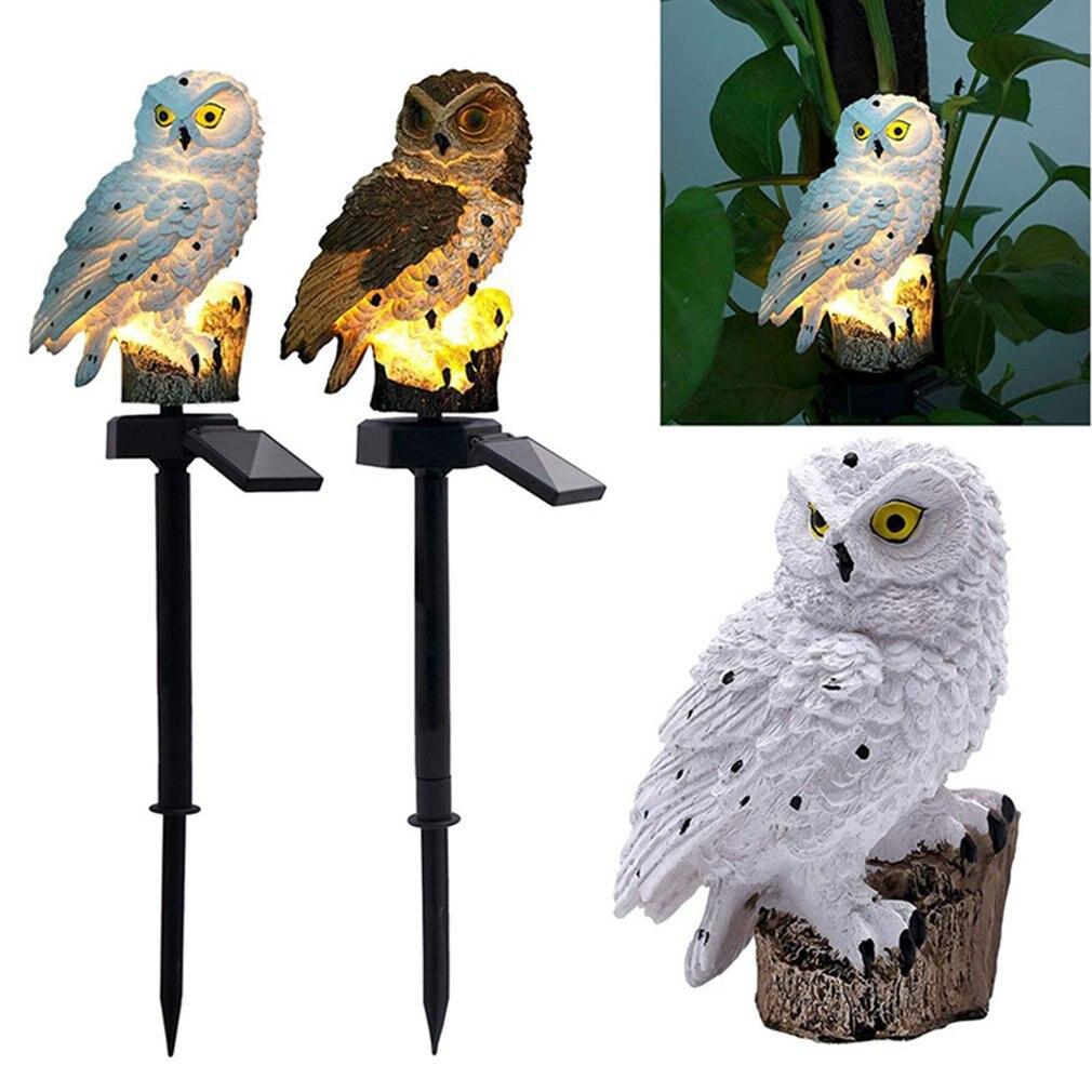 1pcs Novelty Solar Garden Lights Owl Ornament Solar Lamp Outdoor LED Light Energy Saving Light Portable Night Light Garden Decor