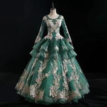 2020 エメラルドグリーン夜会服長袖レースアップリケの花 o ネックドレス vestido デ · ノビア WD30656
