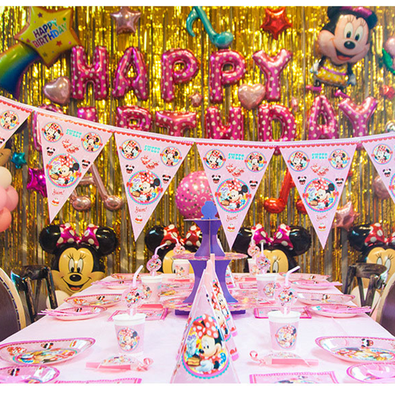 Minnie Mouse Theme beautiful Disposable Birthday Party Decorations Kids Girl Party Supplies Decoration Tableware Set(China)