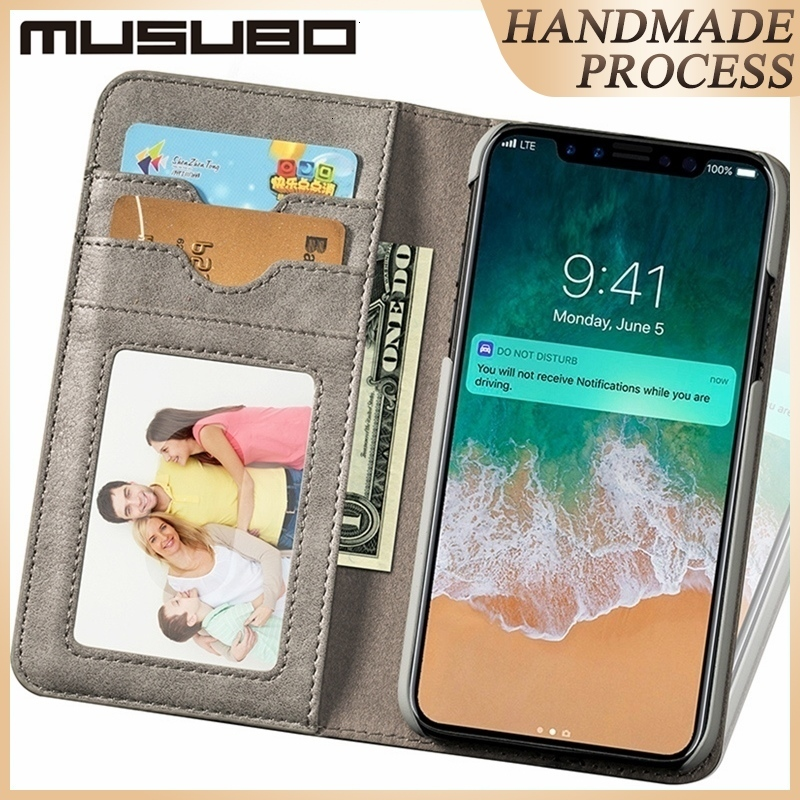 Musubo Luxury Genuine Leather Case For iPhone XR Xs Max X Funda Wallet Protect Cover For iPhone SE 2020 8 Plus 7 Card Flip Shell image
