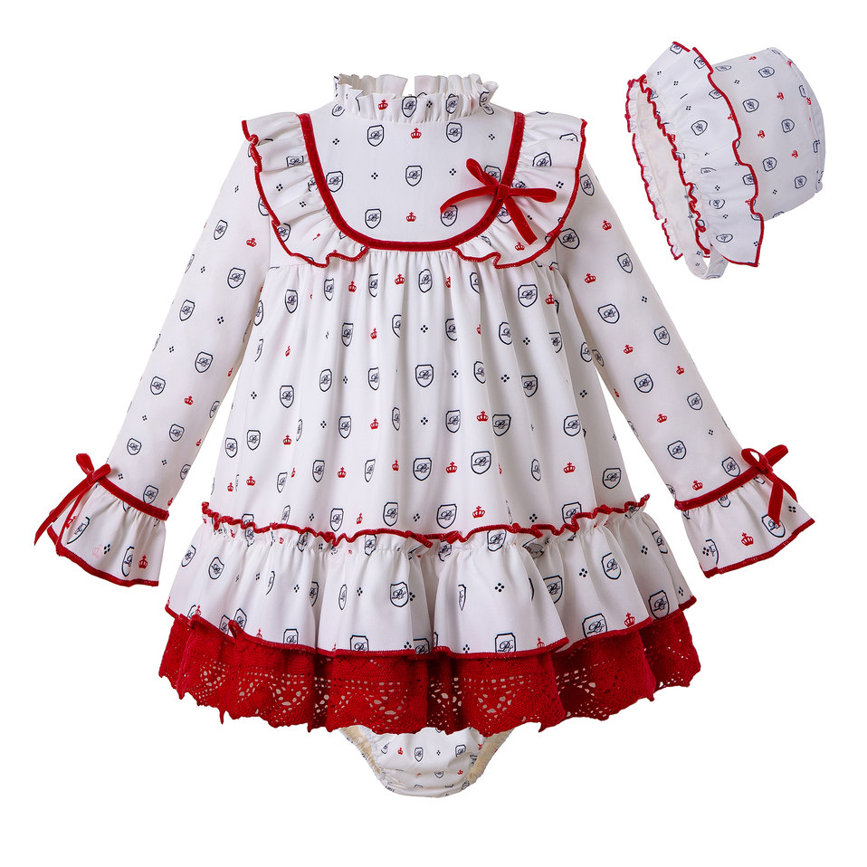 Pettigirl Autumn White Print Kids Clothing Sets Baby Girl Dress+PP Pants+Bonnet Christmas Girls Outfits with Bow Kid Clothes