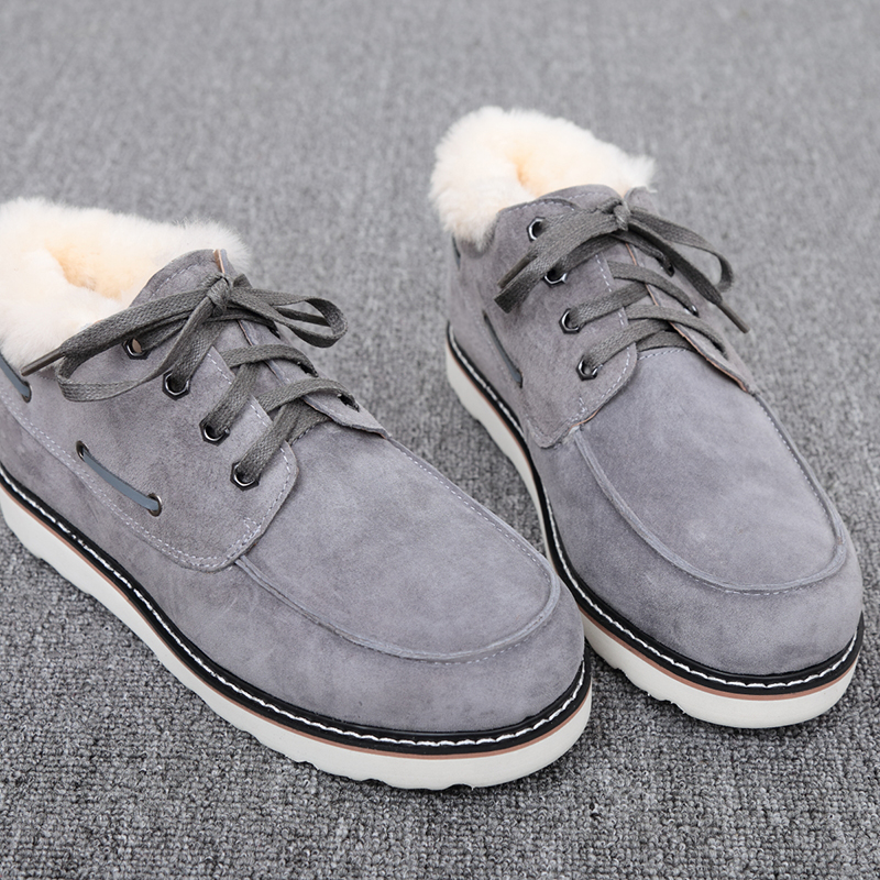 Top Quality Fashion Beckham snow boots for men lace up winter shoes real sheepskin leather nature wool fur ankle short boots - 5