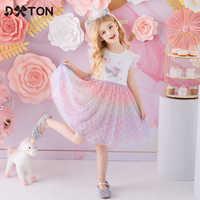 DXTON Dresses For Girls 2021 Baby Girls Summer Clothes Children Princess Dress Flying Sleeve Girls Dresses Unicorn Kids Vestidos