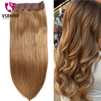 VSR Fish Line Hair Exenstions hair Machine Remy Thickness Hair Bottom Human Hair Invisible Wire Flip in Hair Extension