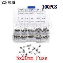 100 unids/lote 5x20mm surtidos Kits DIY rápida de tubo de vidrio rápido golpe de fusibles de vidrio 0.5A 1A 2A 3A 5A 8A 10A 15A 20A 30A Kit de bricolaje