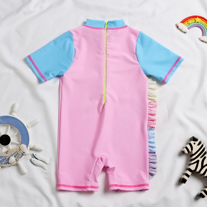 2019 Europe And America New Style Hot Sales KID'S Swimwear One-piece Short Sleeve Shorts Athletic Cartoon Unicorn GIRL'S Swimsui