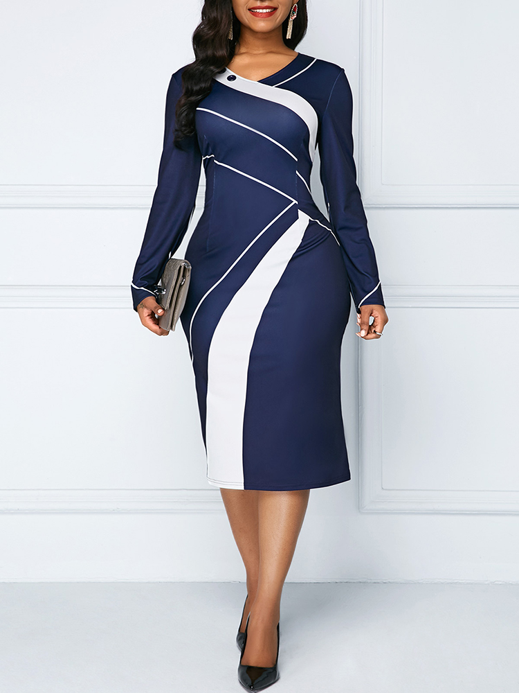 Sakazy Office Lady Geometric O-neck Women Dress Long Sleeves Colour Coloured Slim And Hip Wrapped Pencil 2019  Plus Size Dress