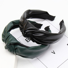 Solid PU Leather Knot Headbands for Women Girls Autumn Winter Hairband Hair Acessories Wide Side Hoop