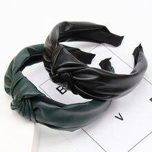 Bandeau à nœud en cuir PU solide pour femmes, accessoires de cheveux, cerceau à large côté, automne hiver