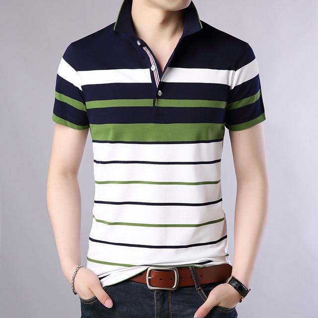 Men Classic Striped Polo Shirt Cotton Short Sleeve NEW Arrived 2021 summer Plus size M-XXXXL