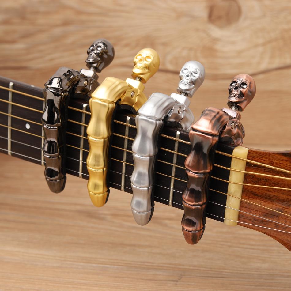 Skull Capo For Guitar,Zinc Alloy Guitar Capo Kyser Guitar Tuner,Universal Guitar Capo With 10 Free Picks,Unique Design Skull Knob Capos For Acoustic Electric Guitars Ukulele /&More Golden