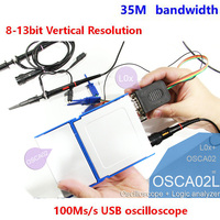 OSCA02 dual channel USB oscilloscope 100M sampling 35M bandwidth 8 ~ 13 bit vertical resolution than 6022BE