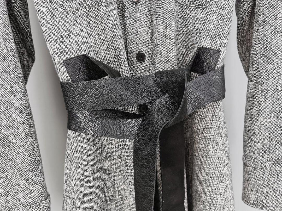 Langarm kleid graben mantel stil leder gürtel design wolle mischung stoff benutzerdefinierte-in T-Shirts aus Damenbekleidung bei  Gruppe 3