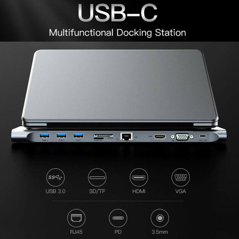10 In 1 Multifunction HUB 4K USB Type-C To USB 3.0 TF HDMI VGA RJ45 Aluminium Alloy Mini DP Docking Station For Laptop