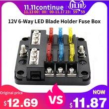 Automotive 12V 6-Way LED Blade Holder Fuse Box Block Case with Negative