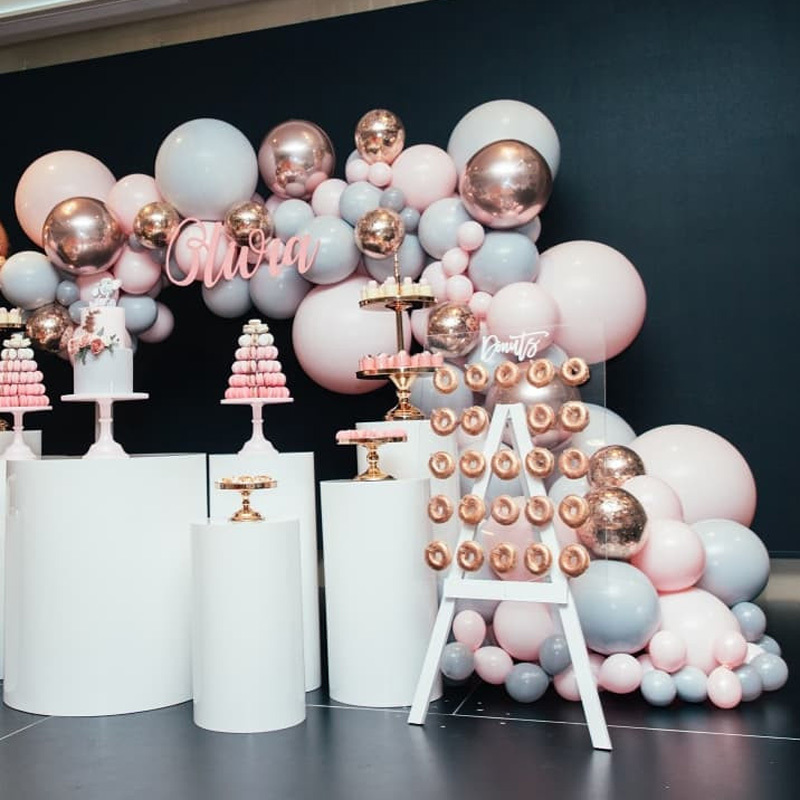 """Image 4 - 323pcs/set Macaron Balloon Arch Garland Kit Double Stuffed 5"""" 18"""" Pink Gray Rose Gold Confetti Balloons Wedding Party Decoration-in Ballons & Accessories from Home & Garden"""
