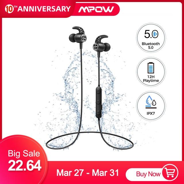 MPOW S16 מגנטי אלחוטי אוזניות IPX7 עמיד למים Bluetooth 5.0 ספורט אוזניות עם 12H למשחק עבור iPhone 11 Xiaomi סמסונג