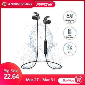 Image 1 - MPOW S16 magnétique sans fil écouteurs IPX7 étanche Bluetooth 5.0 sport écouteurs avec 12H Playtime pour iPhone 11 Xiaomi Samsung