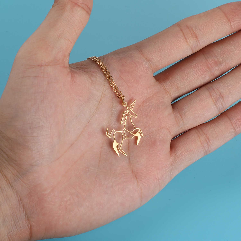 100% настоящая Нержавеющая сталь ожерелье с единорогами специальный подарок Италия дизайн тренд ювелирные изделия ожерелье Уникальный животных ювелирные изделия ожерелье