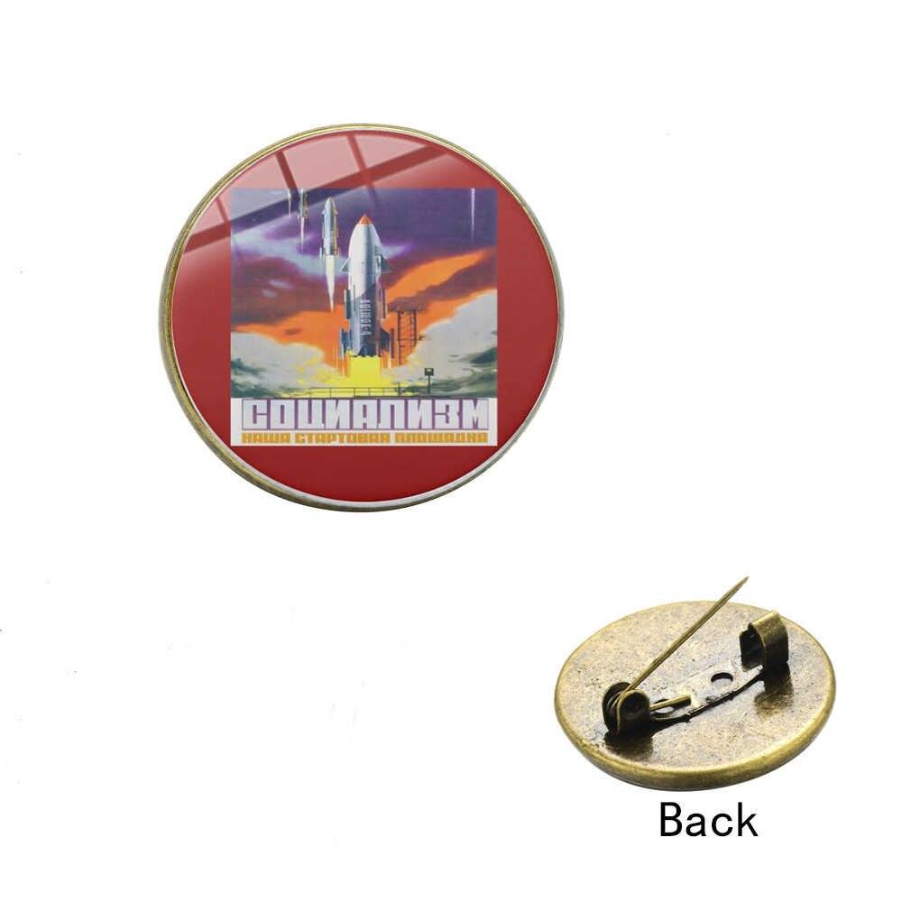 Sian Soviet Pro Kitty Ruang Melawan Astronot Bros Roket Sabit Hammer Pola Kaca Waktu Permata Kerah Pin untuk Komunis Anggota Hadiah