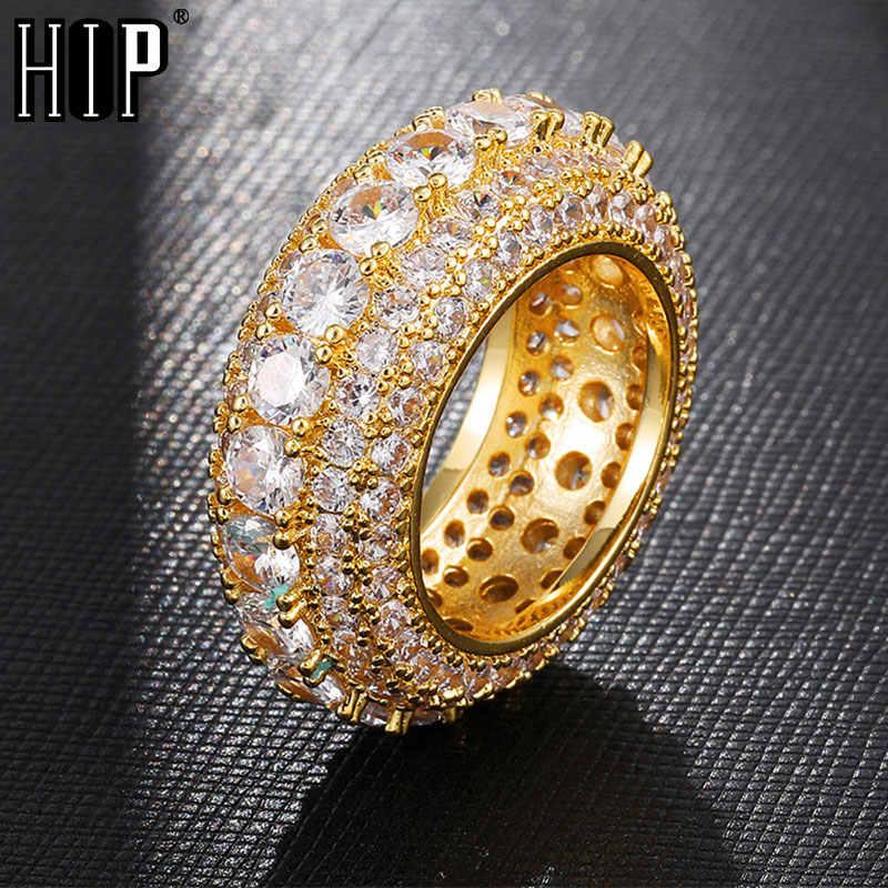 Hip Hop 5 แถว Iced OUT Bling CZ Charm Hollow Tready ทองแดง Cubic Zircon แหวนสำหรับผู้ชายเครื่องประดับทองเงินขนาด 8-11