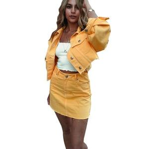 Image 3 - 여름 여성 2 세트 핫 세일 여성 패션 단색 싱글 브레스트 데님 자켓 + 포켓 짧은 스커트 2 피스 슈트