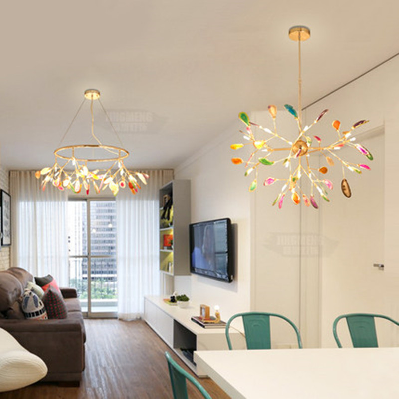 Best Offer Qc6 Modern Agate Led Chandeliers Lighting Living Room Gold Metal Led Pendant Chandelier Lights Dining Room Led Hanging Lamp Fixtures Mg Newswire,What Color Should I Paint My Ceiling