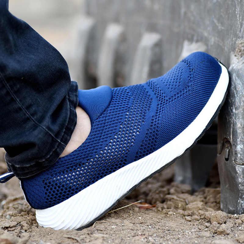 Ademende Veiligheidsschoenen Mannen Laarzen Anti-Smashing Bouw Werk Sneakers Lichtgewicht Stalen Neus Werk Veiligheid Boot Voor Mannen