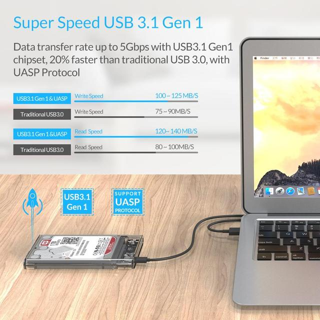 ORICO HDD Case 2.5 inch Transparent SATA to USB 3.0 3.1 Hard Disk Case Tool Free 5Gbps 4TB UASP Type C SSD HDD Enclosure 10Gbps 1